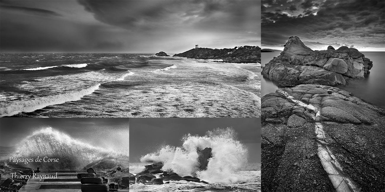 Les rivages de la Corse en noir et blanc